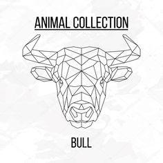 Silhouette de lignes géométriques tête de taureau isolé sur l'élément de fond blanc design vintage