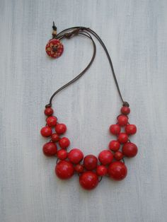 Red Wooden Bead Bib Necklace