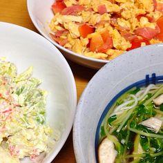 ⚫︎にゅうめん ⚫︎トマト、卵、ハムの甘酢炒め ⚫︎アボカド入り海鮮サラダ - 8件のもぐもぐ - 2014.08.26 by amagishinjyu