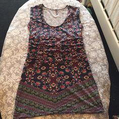 1 day sale! Free People dress  EUC Free People tribal pattern bodycon dress with ruched middle, so perfect for a concert or fun summer look!  Free People Dresses Mini