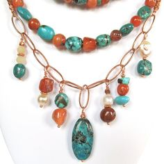 Turquoise and Carnelian Copper Link Necklace - Boho Copper Link Necklace - Long Copper Bead Necklace - 115005 by OmiSilver on Etsy https://www.etsy.com/listing/235018958/turquoise-and-carnelian-copper-link