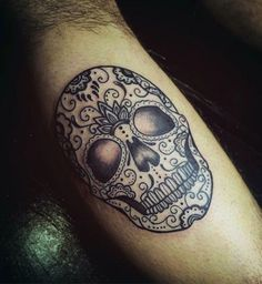 Cool Mens Inner Forearm Sugar Skull Tattoo Design Inspiration