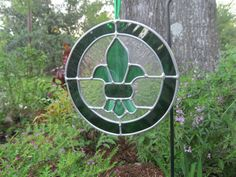 Green round fleur de lis decorative stained glass by HEvansDesigns, $60.00