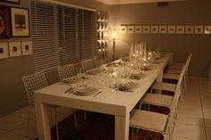 Monaco Table and Wire Chairs for an intimate New Years Eve dinner // #furniture #rentals #miami