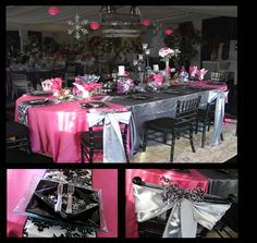 fuchsia, pink, white and silver wedding table