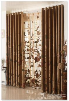 Curtains and blinds Cottage Curtains, Home Decor Accessories, Brown Curtains, Curtains Living Room, Colorful Curtains, Drapes Curtains, Home Decor, Curtain Styles, Curtain Decor