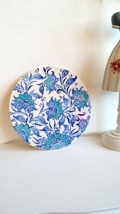 İznik tile,handmade tile,ceramic trivet, turkish ceramic tile,glazed tile,lotus,blue white ceramic,ceramic,vintage tile by HilalCiniCeramic on Etsy