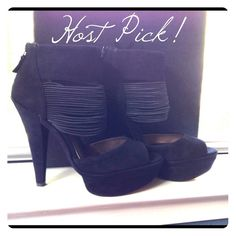 """NEW✨Heidi Klum OpenToe Booties Black or Tan Suede ALSO AVAIL in TanAmazing take on the open toe ankle bootie! Lush black suede covers the toe, 1.5 in platform and 5 in heel. A wide strap at the ankle layers over a cluster of cords that forms the remainder of the ankle support. Zip up heel. Brand new in box. Retail $150. IReasonable offers welcome using the """"OFFER BUTTON""""  plus I discount BUNDLES   ☺(no pp/trades) Thanks for looking! 9 & 7 in stock, other sizes ship in 4-7 days. ❗PLEASE SAY…"""