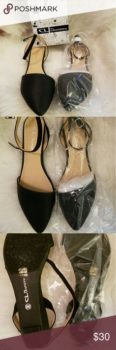 Chinese Laundry 9.5 Black Flats Size 9.5 Black flats. I'm a size 9 and they fit me just fine. Bought from another posher, just changed my mind about the straps. NEVER WORN. Just tried on. Comes wrapped and in the box. Just asking what I paid for them!! Chinese Laundry Shoes