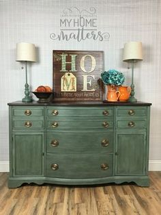 Hand-Painted Furniture | Buffet painted and refinished in a custom mix of Annie Sloans Chateau Grey/Provence followed by black wax. General Finishes Java gel on top!
