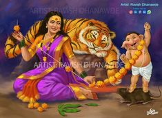 Shiva Art, Ganesha Art, Hindu Art, Shiva Parvati Images, Lakshmi Images, Shiva Shakti, Lord Ganesha Paintings, Lord Shiva Painting, Krishna Painting