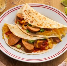... 15 minutes or less: Katie's Buffalo Style Chicken Sausage Quesadillas