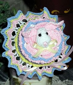 Easter Bunny Delight Jar Doily by Sue ~ free pattern