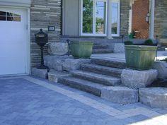 Backyard Patio Slab Stone Steps Ideas For 2019 Patio Steps, Brick Steps, Outdoor Steps, Stone Steps, Front Porch Landscape, Front Yard Garden Design, Landscape Steps, Front Porch Stairs, Front Door Steps