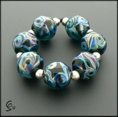 Rolling Waves - Handcrafted Lampwork Glass Beads by Clare Scott SRA Deep Green