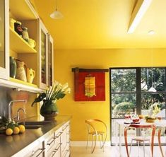 Yellow kitchen Wall with White Cabinets