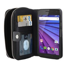 [$6.50] 2 in 1 Detachable Litch Texture Plastic Case Leather Wallet with Card Slots & Lanyard for Motorola Moto G(3rd Gen.)(Black)