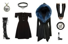 """""""Gothic Look"""" by makaylafayereeves ❤ liked on Polyvore featuring River Island, Demonia, Manic Panic NYC and Hot Topic"""