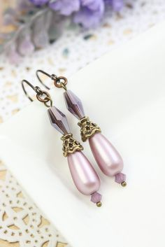 Pink Pearl Earrings Drops, Pearl Earrings Dangles, Simple Earrings, Purple Earrings, Bridesmaids Gift, Pink Earrings, Earrings under 10 by TrinketHouse on Etsy
