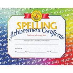 Pk) Spelling Achievement Cert Inkjet Laser 30 Per Pk Certificate Background, Blank Certificate, Free Certificate Templates, Award Certificates, Student Incentives, Kids Awards, Honor Student, Spelling Bee, Printer
