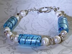 Real Pearl Bracelet Blue and White Genuine Cultured by STBridal @roxannecoffelt