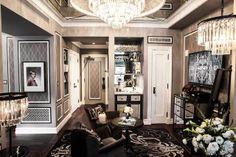 Haute Khuuture Interior Design Home Decor Decorating Fabulous Glam Haute Chic Elegant Sophisticated Great Gatsby Hotel Room Grey Bedroom Art Deco