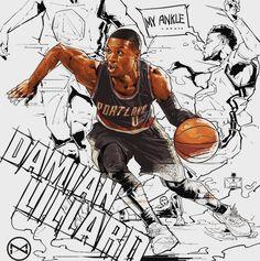 Damian Lillard 'Ankle Break Action' Illustration