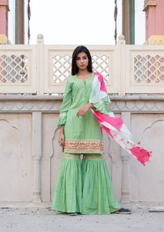 Green Short Kurta With Sharara Suit & Stole Sharara Suit, Green Shorts, Sari, Suits, Cotton, Dresses, Fashion, Gowns, Moda