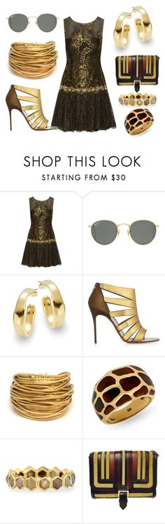 """""""Untitled #345"""" by juliette-de-grijze ❤ liked on Polyvore featuring Notte by Marchesa, Ray-Ban, Uno de 50, Christian Louboutin, Black & Sigi, Todd Reed and Burberry"""
