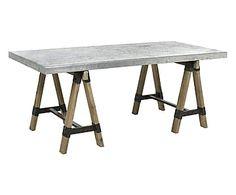 Table HUGO métal et bois de pin, gris et naturel - L187
