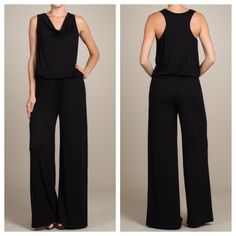 Black Jersey Wide-Leg Racerback Jumpsuit ✳️Bundle to save even more!✳️ Slight cowl neck Racerback Soft Jersey Fabric 95% Viscose, 5% Spandex This jumpsuit is nice enough for a night on the town, and comfortable enough to wear all day. CC Boutique  Pants Jumpsuits & Rompers