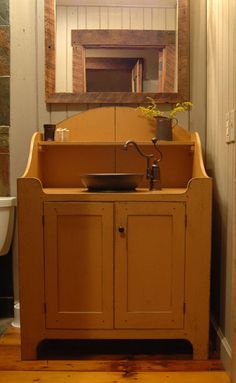 Prim Bathroom Vanity...from the workshops of David T. Smith, Central Kentucky Log Cabin Primitive Bathroom.