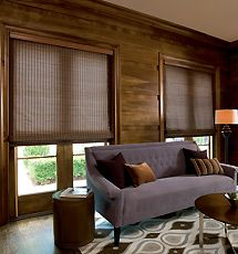 Bring nature indoors for a rustic yet modern look. Woven wood textures combined with vanilla scented candles is sure to leave your home looking fresh. Window Coverings, Window Treatments, Woven Wood Shades, Bamboo Shades, Wood Blinds, Fabric Blinds, Shades Blinds, Blinds For Windows, My New Room
