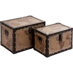 Channelling industrial design influences, stow away seasonal clothing or important documents with this set of two trunks. Featuring an old map design, they'r...