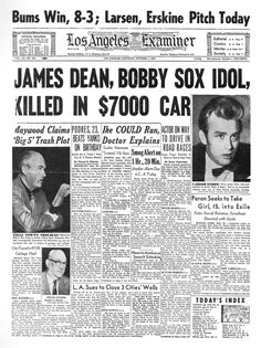 Fascinating to see a newspaper article on his death. (James Dean, iconic young actor who died in Newspaper Front Pages, Vintage Newspaper, Newspaper Article, James Dean Death, Front Page News, Newspaper Headlines, Headline News, Tv Guide, News Articles