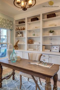 The Boca II model in Jacksonville, Florida features a coastal, calm home office that is perfect for a person who loves the beach. Cozy Home Office, Beach Office, Guest Room Office, Home Office Space, Home Office Design, Home Office Decor, Home Decor, Small Office Decor, Home Office Layouts