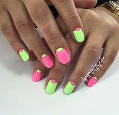 Discover new and inspirational nail art for your short nail designs. Nail Art Designs 2016, Nail Art Design Gallery, Short Nail Designs, Bright Summer Nails, Bright Nails, New Nail Polish, Nail Polish Colors, French Nails, Moon Nails