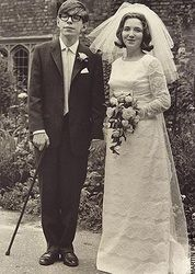 Stephen Hawking's wedding day - after ALS diagnosis thus the cane at age 23
