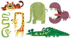 retro cartoon animals - tiger, snake, giraffe, elephant, alligator, hippo