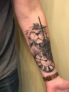 Lion Forearm Tattoos, Outer Forearm Tattoo, Forearm Tattoo Design, Arm Band Tattoo, Lion Tattoos For Men, Lion Head Tattoos, Clock Tattoo Design, Lion Tattoo Design, Cross Tattoo Designs