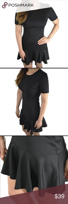  Black Short Sleeve Ruffle Hem Dress  Beautiful ruffle hem black dress, ready for you when you are! Perfect for a casual look or maybe to go dance, but be careful cause this dress ruffles will dance with you!  •Great quality  •Stretchy material  •Mini dress  •Round neckline  •This item does not have a back zipper  •Material: 95% Polyester 5% Spandex. Din & Louie Dresses Mini