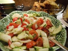 cucumbers from my straw bale garden with tomatoes, onions, oregano...great salad...perfect taste of summer