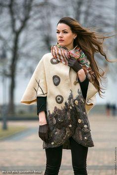 """Купить Пальто-кокон """"По мотивам Кандинского"""", валяная одежда,одежда из шерсти - бежевый"""