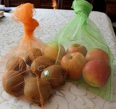 bag produce with lightweight bags instead of throwaway plastic bags. sew using mesh or tulle fabric or buy mesh bags from a dollar store.