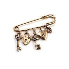 Key, Lock And Heart Locket Charm Safety Pin Brooch (Burn Gold Finish) (€12) ❤ liked on Polyvore featuring jewelry, brooches, accessories, fillers, pins, women, heart charm, heart-shaped jewelry, lock charm and heart shaped locket