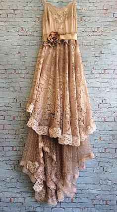 taupe & tan asymmetrical crochet lace polka dot tulle off beat bride boho wedding dress by mermaid miss k