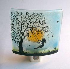 Fused Glass Night Light (Child Swinging)