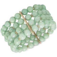 lonna & lilly Gold-Tone Green Beaded Stretch Bracelet ($42) ❤ liked on Polyvore featuring jewelry, bracelets, no color, bead charm bracelet, charm bangle, bracelet bead charms, vintage bracelet and charm bracelet bangle