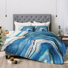 Like you, the Viviana Gonzalez Agate Inspired Watercolor Abstract 02 Comforter by Deny Designs is inspired by agate stones. Its blue and white agate. Marble Comforter, Blue Comforter Sets, Duvet Sets, Marble Pattern, Abstract Watercolor, Abstract Art, Home Decor Accessories, Comforters, Bedspreads