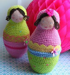 Søde hæklede  Babuskaer , fundet på denne skønne blog. tusindfryd.blogspot.com